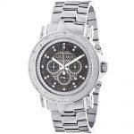 Oversized Mens Diamond Watch 0.25ct Black MOP Luxurman Escalade w Chronograph