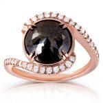 Round Rose-Cut Black and White Diamond Bypass Ring 3 7/8 Carat (ctw) in 10k Rose Gold