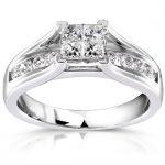 Princess & Round Diamond Engagement Ring 3/4 carat (ctw) in 14K White Gold
