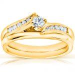 Round Diamond Bridal Set 1/4 Carat (ctw) in 14k Yellow Gold