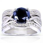 Round Blue Sapphire & Diamond Bridal Set 2 Carat (ctw) in 14k White Gold (3 Piece Set)