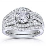 Round-cut Halo Diamond 3-Piece Bridal Ring Set 1 1/3 Carat (ctw) in 14k White Gold