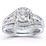 Round-cut Diamond Bridal Ring Set 1 1/5 Carat (ctw) in 14k White Gold