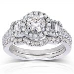 Round & Baguette Diamond Bridal Set 1 1/3 Carat (ctw) in 14k White Gold (2 Piece Set)