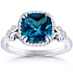 Cushion-cut London Blue Topaz and Diamond Engagement Ring 2 1/3 Carat (ctw) in Silver with 14k Plated