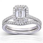 Emerald-Cut Halo Diamond Bridal Set 1 1/2 Carat (ctw) in 14k White Gold (2 Piece Set)