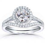 Round-cut Halo Diamond Bridal Ring Set 1 1/2 Carat (ctw) in 14k White Gold