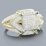 Pave Diamond Engagement Ring 14K 0.69ct