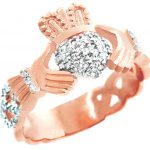 Pave Unisex Claddagh Ring in 9ct Rose Gold