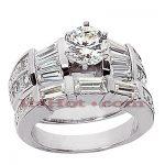 Platinum Diamond Engagement Ring Set 3.79ct