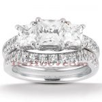 Platinum Diamond Three Stone Engagement Ring Set 0.87ct