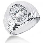 Platinum Men's Round & Oval Diamonds Ring 1.95ct