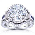 Round-cut Moissanite Bridal Set with Sapphire & Diamond 4 CTW 14k White Gold