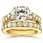 Art Deco Moissanite and Diamond Bridal Rings Set 3 CTW 14k Yellow Gold