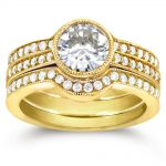 Art Deco Moissanite and Diamond Bezel 3-Piece Bridal Ring Set 1 3/4 CTW 14k Yellow Gold