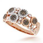 Right Hand Rings: Unique Flower Design White & Champagne Diamond Ring 14K