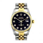 Rolex Datejust Oyster Perpetual Mens Diamond Watch Two Tone Steel 18K Gold