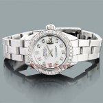 Rolex Oyster Perpetual Datejust Ladies Diamond Watch 1.50ct Custom