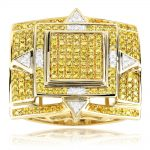 Solid 10K Gold Rings Yellow Diamond Mens Ring 1.11ct