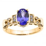 0.6ct Tanzanite and Diamond Engagement Ring in 9ct Gold