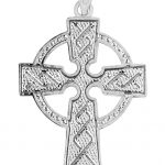 Textured Cross Pendant Necklace in 9ct White Gold