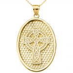 Trinity Knot Oval Cross Pendant Necklace in 9ct Gold