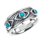 0.25ct Turquoise Evil Eye Comfort Fit Ring in Sterling Silver