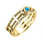 0.05ct Turquoise Milgrain Sideways Cross Evil Eye Good Luck Ring in 9ct Gold