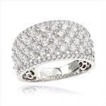Uniqe Luxurman Bands: 14K Gold Wide Diamond Ring for Women 2 Carat