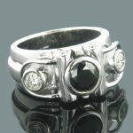 Mens Designer White and Black Diamond Ring 2.02ct 14K Gold