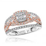 Unique 14K White & Rose Gold Halo Diamond Engagement Ring by Luxurman 1ct