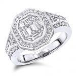 Unique 3 Carat Look Halo Emerald Cut Diamond Engagement Ring in 14k Gold