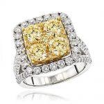 Unique 4 Carat Natural Yellow Diamond Halo Engagement Ring 14K Gold