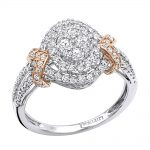 Unique Affordable Halo Cluster Diamond Engagement Ring 0.9ct Two Tone Gold