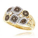 Unique Diamond Ring for Women White and Champagne Diamonds 14k Gold 0.6ct