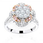 Unique Ladies Cluster Flower Diamond Engagement Ring in 14K Gold 1.75ct