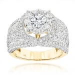 Unique Luxury 14K Gold Diamond Engagement Ring 2.79ct