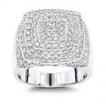 Unique Mens Diamond Gold Ring by Luxurman 3.5ct Pave Set Round Diamonds 14K