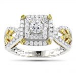 Unique One Carat White Yellow Diamond Engagement Ring by Luxurman 14K Gold