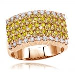 Unique White Yellow Diamond Ring for Men 3.5ct by Luxurman 14k Gold