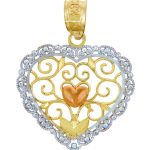 Valentine Heart Flower Pendant Necklace in 9ct Three-Tone Gold