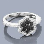 White Black Diamond Flower Ring 0.75ct 14K