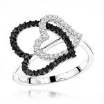 White Black Diamond Heart Ring 0.40ct 14K