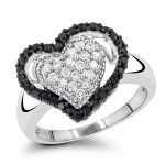 White Black Diamond Heart Ring 0.60ct 14K