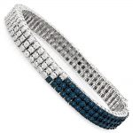 Mens Diamond Bracelets White Blue 0.60ct Sterling Silver