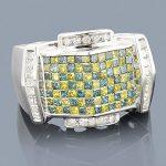 White Blue Yellow Mens Diamond Ring 2.50ct 14K