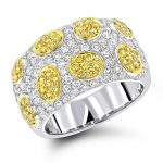 White Yellow Diamond Band 2.38ct 14K Gold Unique Ladies Ring