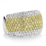 White Yellow Diamond Band for Women 3.35ct 14K Gold Anniversary Ring