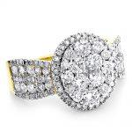 Womens Diamond Cluster Rings 2.6ct 14k Gold Diamond Engagement Ring