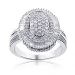 Womens Sterling Silver Diamond Cluster Ring 1.19ct